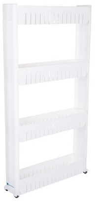 Everyday Home Mobile Shelving Unit Organizer, 4 Storage Baskets, Slim Slide Out Pantry Storage Rack