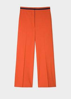 Paul Smith Women's Rust Wool-Blend Wide Leg Trousers With Contrast Waistband