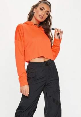 Missguided Neon Orange Crop Hooded Sweatshirt