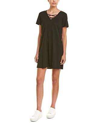 Michael Stars Women's Cotton Modal Short Sleeve lace-up v-Neck Dress