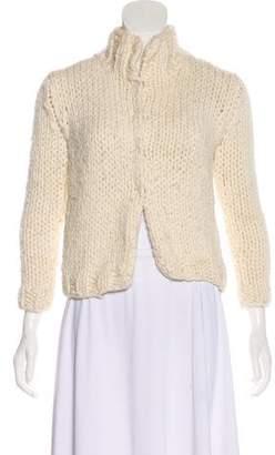 Dolce & Gabbana Mock Neck Rib Knit Cardigan