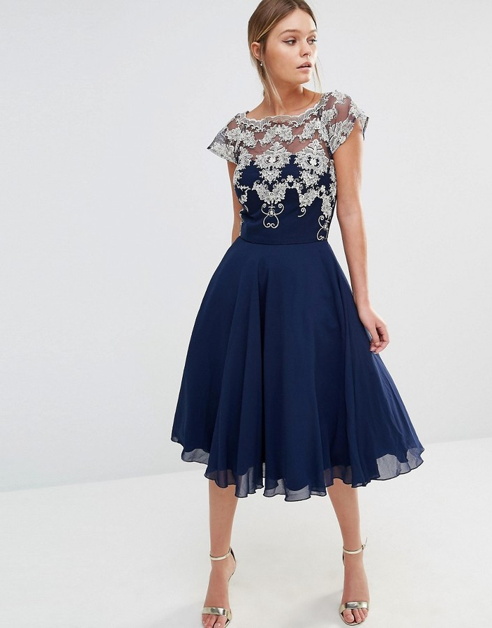 Chi Chi London Chiffon Tulle Prom Dress With Contrast Embroidery