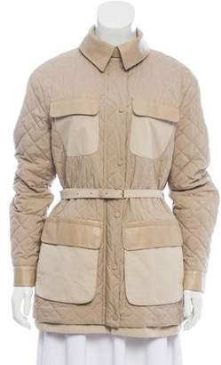 Loro Piana Leather-Trimmed Quilted Jacket