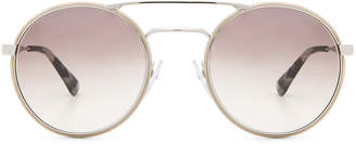 Prada Round Sunglasses in Silver & Light Brown | FWRD