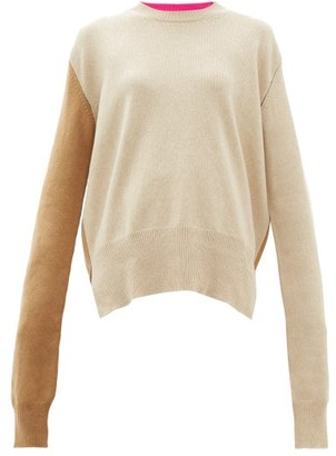 La Fetiche - Louis Two Tone Wool Sweater - Womens - Camel
