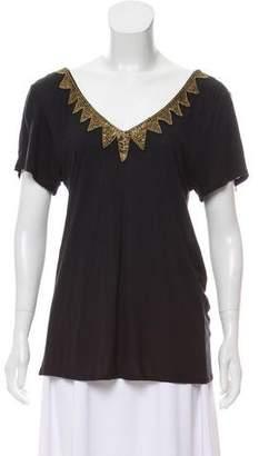 Gryphon Short Sleeve Embellished Top