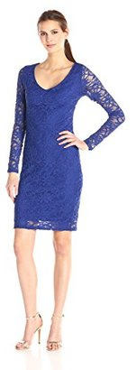 """Marina Women's Corded Stretch Lace Dress with """"V"""" Front Neck and Keyhole $99 thestylecure.com"""