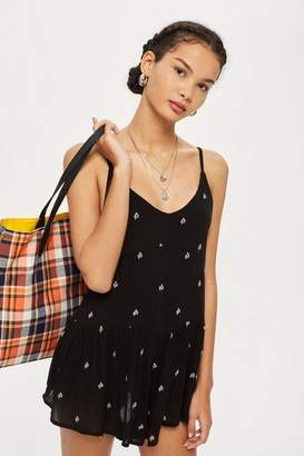 Topshop Womens Ditsy Embroidered Playsuit