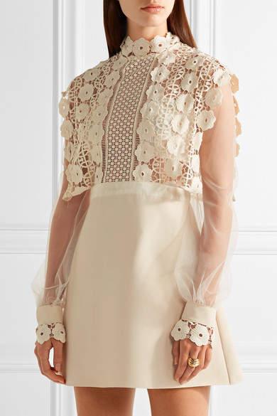 Self-Portrait - Guipure Lace, Crepe And Tulle Mini Dress - Cream 4