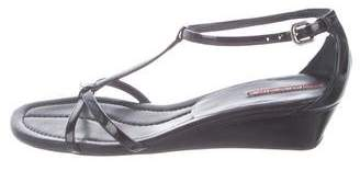 Prada Patent Leather T-Strap Wedges