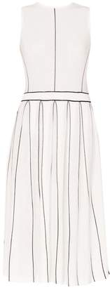 Paisie Knitted Dress With Stripe Details & Pleated Skirt In White & Black