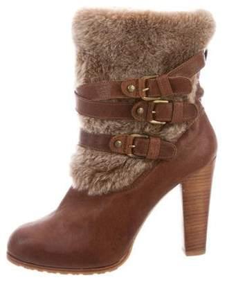 Stuart Weitzman Leather Faux-Fur Boots