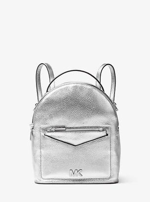 Michael Kors Jessa Small Metallic Pebbled Leather Convertible Backpack