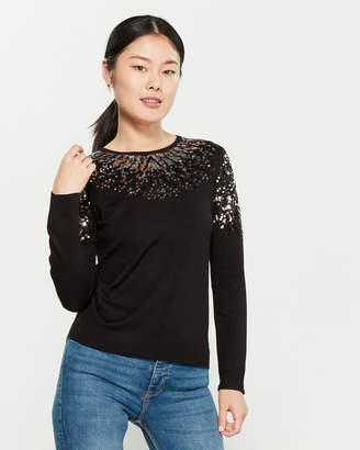 YAL New York Sequin Neck Long Sleeve Sweater