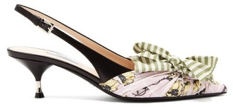 Prada Bow Trim Slingback Leather Pumps - Womens - Green Multi