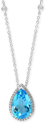 "Effy Blue Topaz (5-3/4 ct. t.w.) & Diamond (1/4 ct. t.w.) 18"" Pendant Necklace in 14k White Gold"