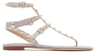 Valentino Rockstud Flat Leather Sandals - Womens - Grey