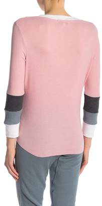Wildfox Couture V-Neck Colorblock Thermal Knit Tee