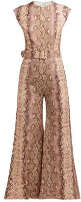 Emilia Wickstead Barbara Python Print Cropped Leg Jumpsuit - Womens - Pink Print