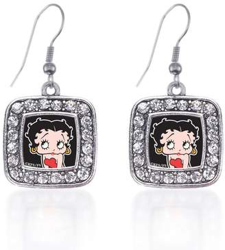 Betty Boop Inspired Silver Classic Charm Earrings Square French Hook Clear Crystal Rhinestones
