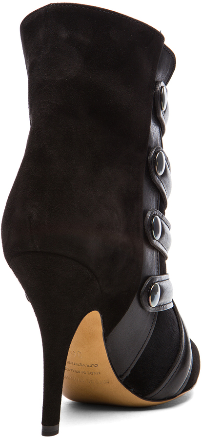 Isabel Marant Tacy Goat Suede Leather Pony Booties in Black