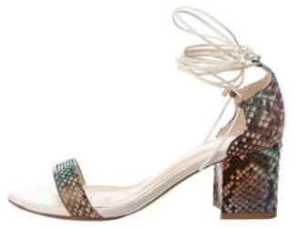 Alexandre Birman Snakeskin Lace-Up Sandals Blue Snakeskin Lace-Up Sandals
