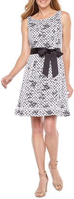 Robbie Bee Sleeveless Lace Dots Fit & Flare Dress