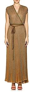 Missoni Women's Metallic Rib-Knit Wrap Dress-Gold