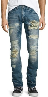 PRPS Demon Distressed Slim Denim Jeans, Blue $375 thestylecure.com