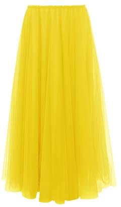 Raey Elasticated Waist Tulle Maxi Skirt - Womens - Yellow