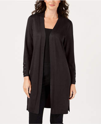 JM Collection Petite Open-Front Duster Cardigan