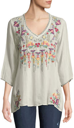 Johnny Was Nixie V-Neck 3/4-Sleeve Floral-Embroidered Blouse