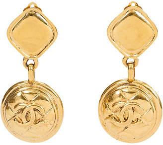 One Kings Lane Vintage Chanel Quilted CC Diamond Drop Earrings - Vintage Lux