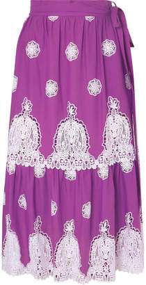 Miguelina Georgia Crocheted Cotton-voile Midi Skirt - Violet
