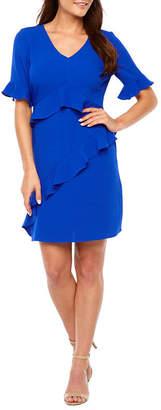 Chetta B BE BY Be by Short Bell Sleeve Ruffle Sheath Dress