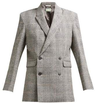 Aries Prince Of Wales Check Cotton Blend Boucle Blazer - Womens - Grey