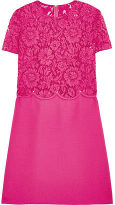 Valentino - Rockstud Lace And Crepe Mini Dress - Fuchsia $3,700 thestylecure.com