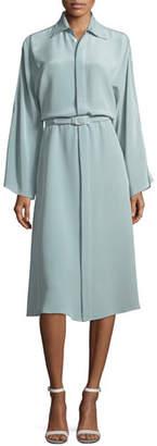 Ralph Lauren Karen Long-Sleeve Belted Silk Shirtdress