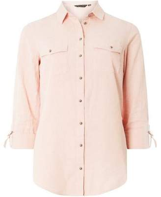 Dorothy Perkins Womens Pink Cotton Linen Shirt