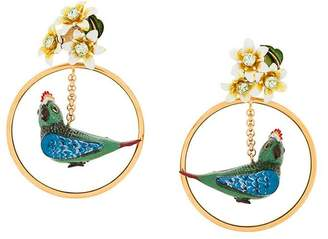 Dolce & Gabbana parrot drop earrings