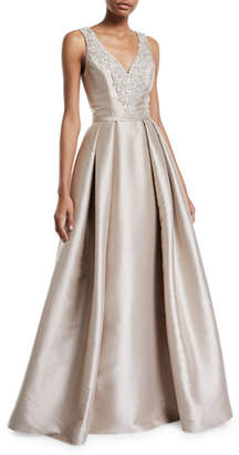 Theia Faille V-Neck Ball Gown with Crystal Beading