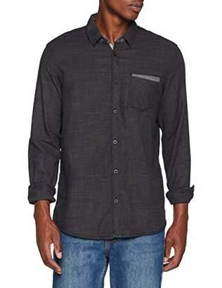 Tom Tailor Casual Men's Uni Freizeithemd Mit Langarm Und Leichter Struktur Optik Casual Shirt, (Black Grey Slub Stru 13824), Medium