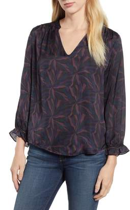 Velvet by Graham & Spencer Sonoma Print Satin Blouse