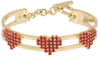 BCBGeneration Red Stone Multi Heart Toggle Cuff Bracelet