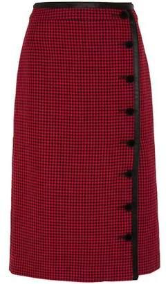 Altuzarra Christofor Silk Satin-Trimmed Houndstooth Wool Skirt