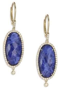 Meira T Sodalite, Diamond& 14K Yellow Gold Drop Earrings
