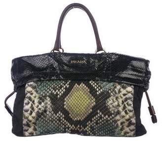 5339dbf1c1 Prada Python-Trimmed Tessuto Bag
