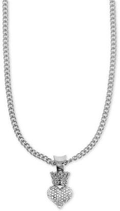 "King Baby Studio Women's Pave Crown Heart 18"" Pendant Necklace in Sterling Silver"