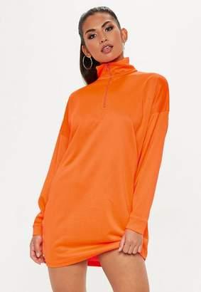 Missguided Fluro Oversized Long Sleeve Zip Front Sweater Dress