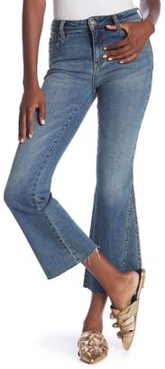 Free People Studded Cropped Flare Jeans